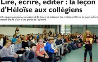 Héloïse De Ré, article RL Intervention collège de la Canner 01/12/2016