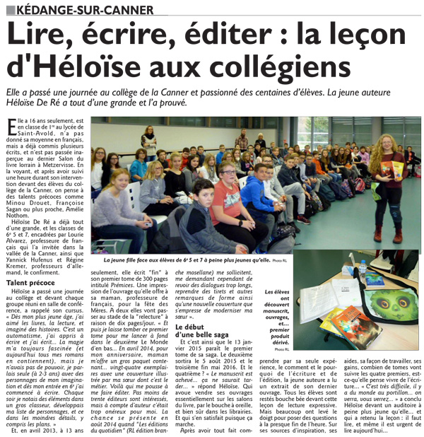 Héloïse De Ré, article RL Intervention collège de la Canner 01/12/2016