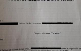 Héloïse De Ré, contrat d'édition, le mystère de la tour aux puces